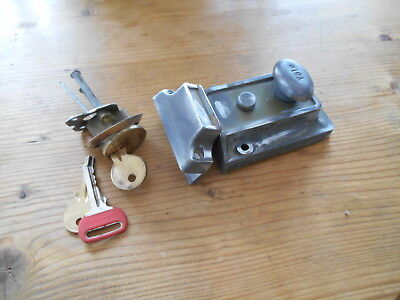 Vintage  Yale Rim Front Door Lock + 3 Keys  Salvaged Reclaimed