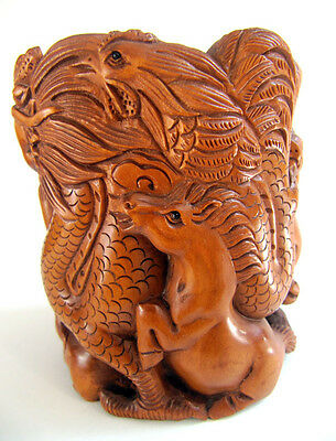 Y681 --- 8.5*7.5 CM Hand Carved Boxwood Pen Holder : 12 Zodiac Animals - Rare