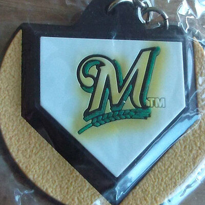 Two Milwaukee Brewers MLB Home Plate Key Chains