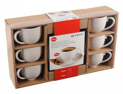 Alpina White Ceramic 6 x 75ml Espresso Coffee Cup 6 x Saucer Set