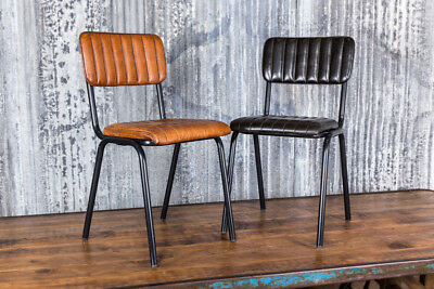 Vintage Style Ribbed Leather Dining Chairs Leather Cafe Chair Two Colours