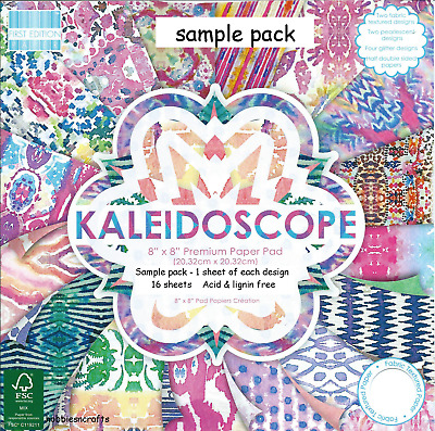 Dovecraft Kaleidoscope 8 X 8 Sample Pack 1 Of Each Design -  16 Sheets