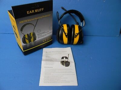 Ear Muff Am/Fm Stereo Hearing Protection. Headphones Bright Yellow New