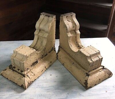 1890's Antique Pair(2) Wood Corbels Brackets Victorian Malt Brown 459-17