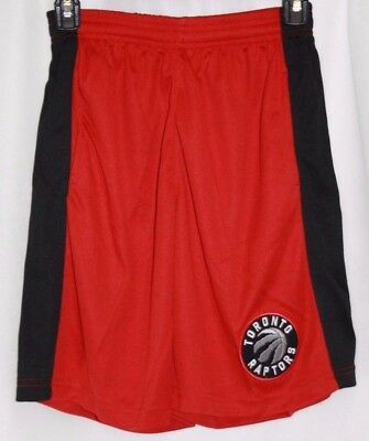 NEW Boys Kids Youth Majestic Toronto Raptors Logo Red Black NBA Shorts