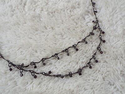 Gunmetal Bar Link Pink Rhinestone Scoop Chain Necklace  (B50)