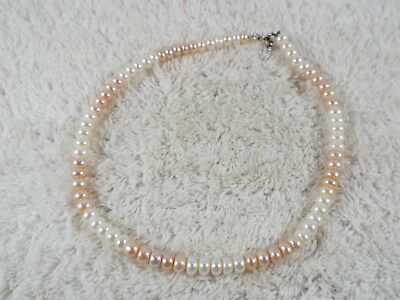 Pink White Cultured Freshwater Pearl Necklace (B50)