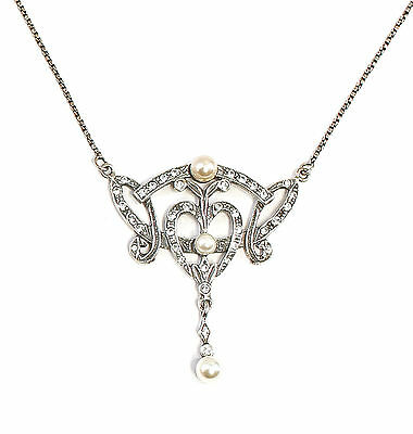Art Nouveau Necklace with Swarovski Stones and Pearls blumenmuster 9901685