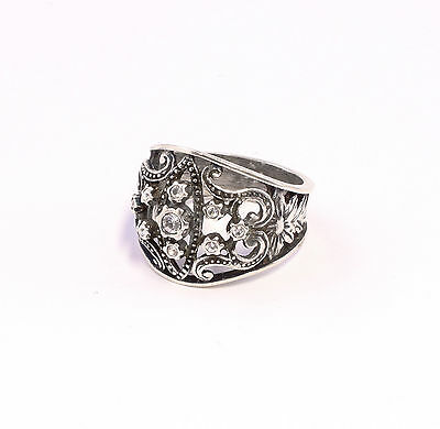 925 silver Ring with Swarovski Stones Big 54 blumenmuster 9901351