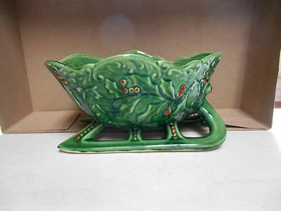Green red holly berry design sleigh planter container decorative collectible