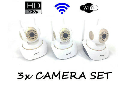 3x 720p BABY MONITOR WiFi NIGHT VISION AUDIO SECURITY CAMERA SURVEILLANCE GOLD