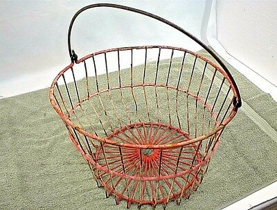 Vintage Wire Egg Basket Red Vinyl Coated Metal Farm Rough Condition.