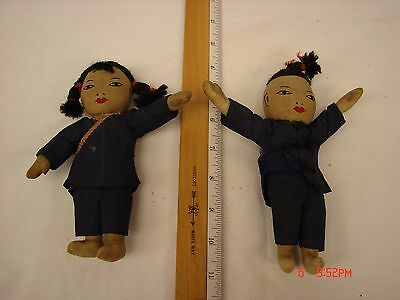 2 Vintage 6 Inch Cloth Doll Asian Style Girl Boy Chinese Stitched Face Clothing