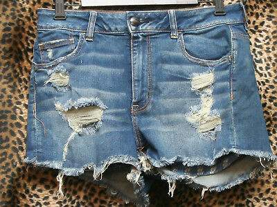 American Eagle  High Rise Destroyed Hole Markings  Denim Shorts Women's Size 14