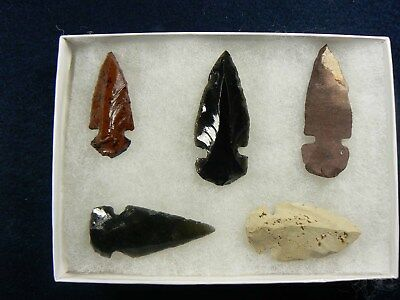 LOT OF 5 Assorted Ancient Indian Arrowheads ARTIFACTS COLLECTION
