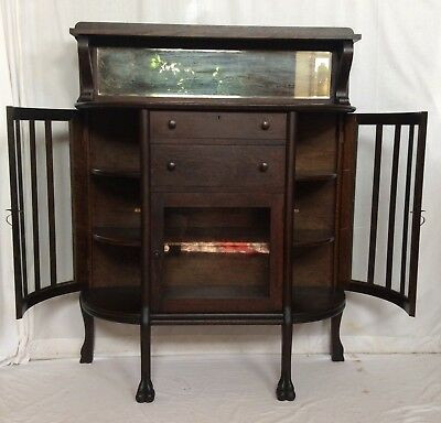 Antique Victorian 1880's Empire Tiger Oak Lion Paw Foot Buffet Sideboard Server