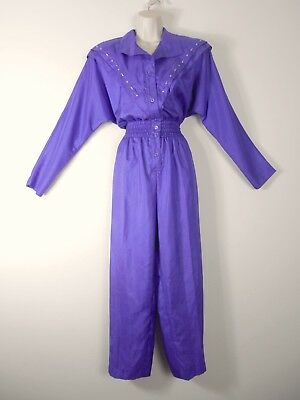 Vtg 80s NEW w/Tags Purple Jumpsuit PARACHUTE Windsuit Fabric JOAN WALTERS Sz 12
