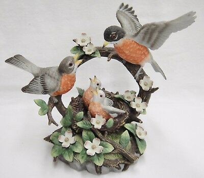 San Francisco Music Box Porcelain Robins in Nest Oh What a Beautiful Morning