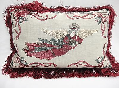 """Angel Tapestry Pillow with Burgundy Back and Fringe Trim 10 x 17"""" Christmas"""
