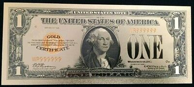 "<MINT> OLD STYLE ""GOLD"" $1.00 GOLD CERTIFICATE One DOLLAR Rep.*Banknote W/COA~"