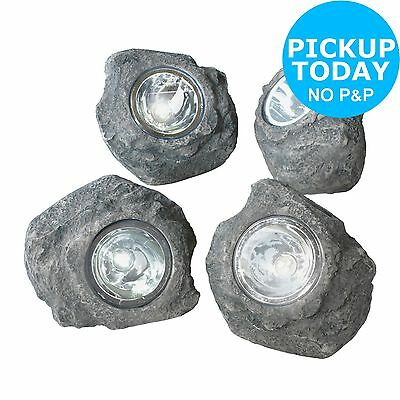 HOME Solar Rock Outdoor Lights - Set of 4. From the Official Argos Shop on ebay