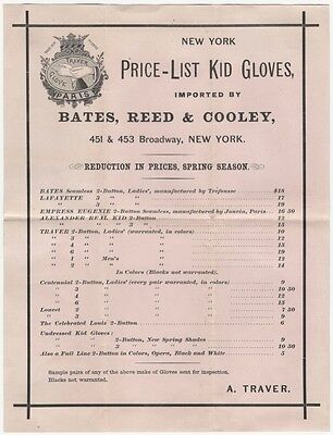 1870s Ladies Kid Gloves Price List - New York Importer Bates, Reed & Cooley
