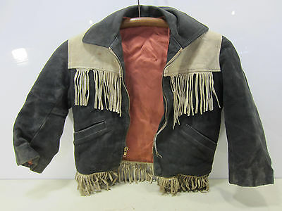 Vintage Child's Western Fringed Black Leather Coat