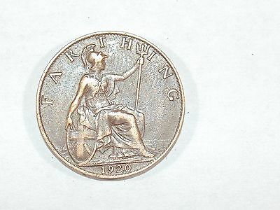 GEORGE V  FARTHING 1920 GREAT BRITAIN UK NICE GRADE Old Coin