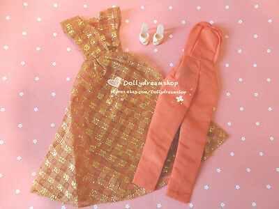Doll dress ~ Repro Barbie Dinner at Eight Outfit & Shoes mix set NEW
