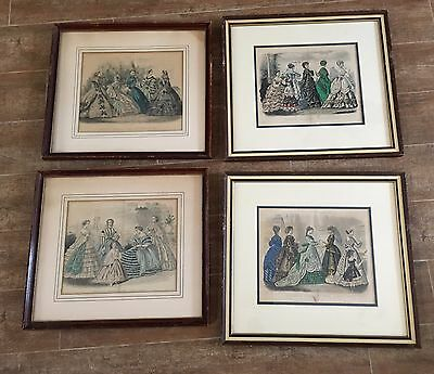 Lot vintage framed print 4 Godey's Fashions framed Kimmel Capewell Women dresses