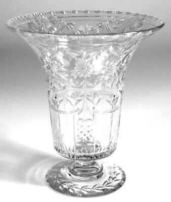 Leaded Crystal Flared Top Vase with Stylized Floral Cutting.