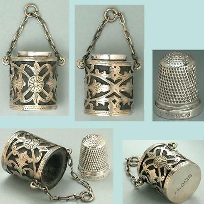 Antique English Sterling Silver Chatelaine Case w/ Thimble * Hallmarked 1900