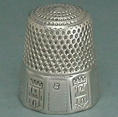 Antique Sterling Silver Castle Band Thimble * American * Circa 1880s