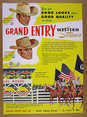 1959 Grand Entry Western Straw Hats rodeo horse art vintage print Ad