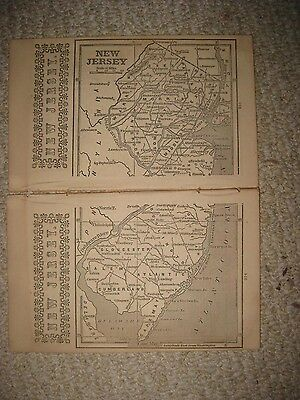 Rare Early Antique 1851 New Jersey Map Princeton Trenton Bergen County Freehold