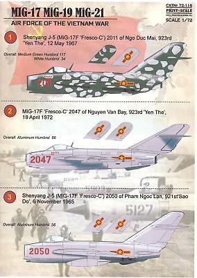 Print Scale Decals 1/72 NORTH VIETNAMESE MiG FIGHTERS OF THE VIETNAM WAR
