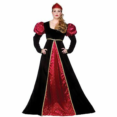 Medieval Queen Empress Historical Womens Halloween Fancy Dress Costume Outfit