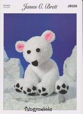 James C Brett Jb326 Polar Bear Original Knitting Pattern - Icicle Chunky