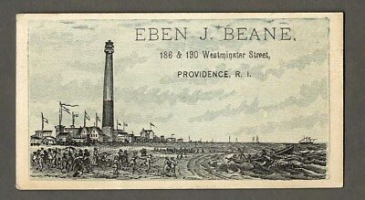 Boots Rubber Goods EBEN J BEANE Providence R.I. Trade Card 1880's Victorian