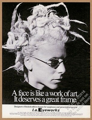 1994 Louise LeCavalier photo L.A. Eyeworks glasses vintage print ad