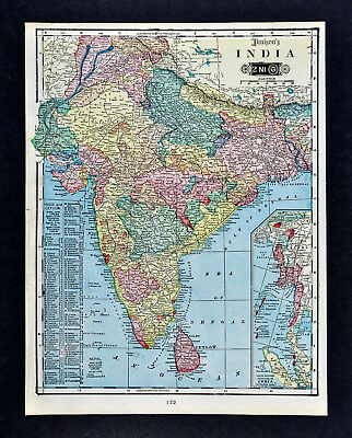 1903 Tunison Map India Nepal Burma Punjab Pakistan Bombay Calcutta Madras Ceylon
