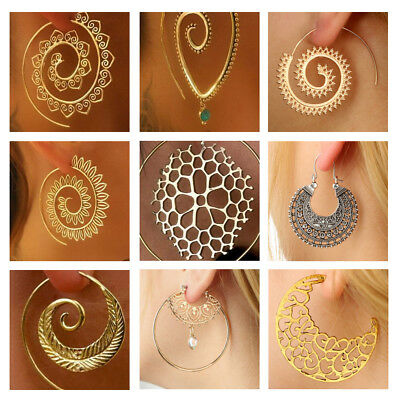 Women Antique Style Gold Plated Delicate Large Circle Ear Hook Stud Earrings