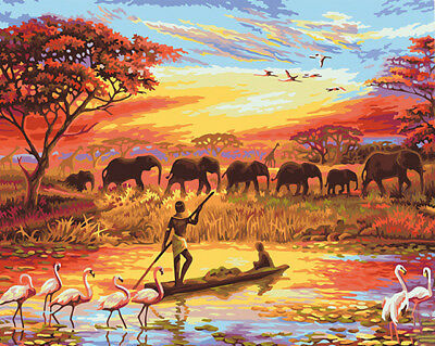 Paint By Number Kit On Canvas Africa Human and Nature harmonious Painting PZ7091