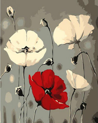 Paint By Number Kit On Canvas Red White Poppy Flower Painting PZ7092