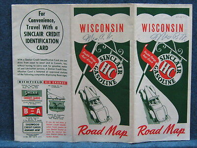 1940s Sinclair H-C Gasoline Road Map of Wisconsin -- 1940 Census Figures