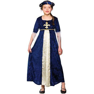 Girls Regal Princess Costume Fancy Dress Up Party Halloween Medieval Outfit Kids