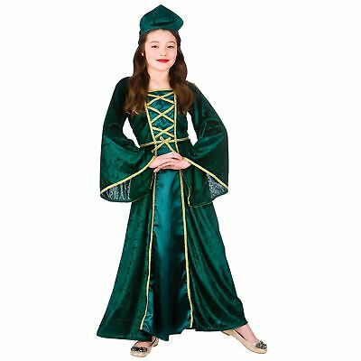 Childrens Medieval Tudor Princess Halloween Fancy Dress Up Party Costume Outfit