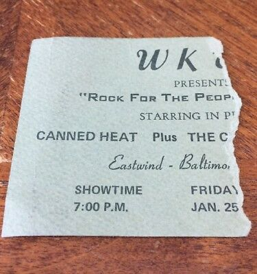 Canned Heat Chambers Bros Rock for People Ticket Stub January 25 1974 Baltimore