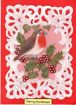hand drawn Parchment Craft card pretty Robin Bird in rose hip bush any occasion