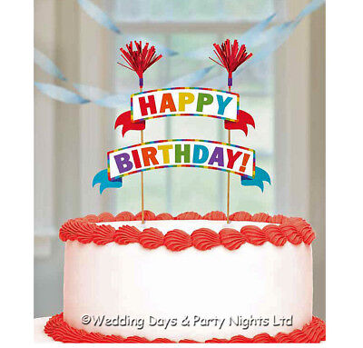 Red + Rainbow Happy Birthday Cake Picks Topper Bunting Banner Party Decorations